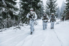 Squad of soldiers in winter forest. Winter arctic mountains warfare. Action in cold conditions. Squad of soldiers with weapons in forest somewhere above the Stock Photo