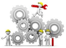 Squadra degli operai con il meccanismo di attrezzo Immagini Stock Libere da Diritti