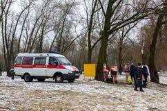 Squadra dell'ambulanza di dovere al bagno di epifania della sede Fotografia Stock Libera da Diritti