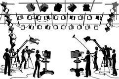 Squadra dello studio del canale televisivo Immagini Stock