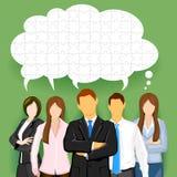 Squadra di affari con la bolla imbarazzata di chiacchierata Immagini Stock