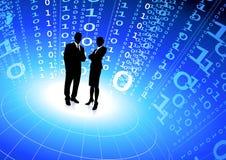 Squadra di affari con la priorità bassa del Internet di codice binario Fotografia Stock