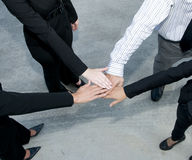 Squadra di affari con le mani nella calca Immagine Stock