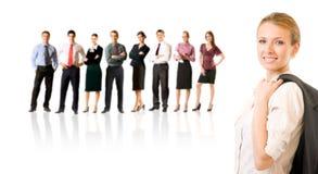Squadra di affari, isolata su bianco Immagini Stock Libere da Diritti