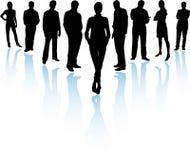 Squadra di affari in siluetta Fotografia Stock
