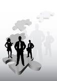 Squadra di affari sul puzzle Fotografia Stock Libera da Diritti