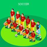 Squadra di calcio 2016 illustrazione isometrica di vettore dei giochi 3D di estate Immagini Stock