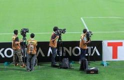 Squadra di cinepresa di televisione Fotografie Stock Libere da Diritti