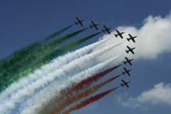 Squadra di dimostrazione di Frecce Tricolori Fotografie Stock