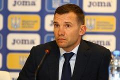 Squadra di football americano dell'Ucraina: Nuova presentazione del pullover Fotografia Stock Libera da Diritti