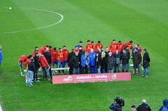 Squadra di football americano nazionale di Spagna durante la sessione di foto Fotografie Stock Libere da Diritti