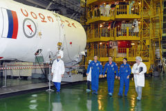 Squadra di ISS dopo il controllo di misura Fotografie Stock