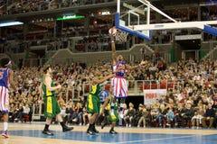 Squadra di pallacanestro dei Globetrotters del Harlem in un'esposizione Fotografia Stock Libera da Diritti