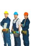 Squadra di uomini degli operai del costruttore Fotografie Stock Libere da Diritti