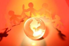 Squadra e globo Immagini Stock Libere da Diritti