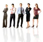 Squadra felice di affari, isolata Immagini Stock