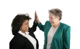 Squadra femminile di affari - alti cinque Fotografia Stock Libera da Diritti