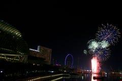 Squadra Francia di celebrazione 2008 dei fuochi d'artificio di Singapore Immagini Stock Libere da Diritti