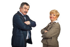 Squadra invecchiata centrale sorridente di affari Fotografia Stock