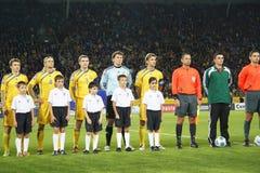 Squadra nazionale di Ucraina su gioco del calcio Fotografia Stock