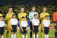 Squadra nazionale di Ucraina su gioco del calcio Immagini Stock