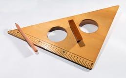 Squadra a triangolo di legno d'annata o angolo retto Immagini Stock Libere da Diritti