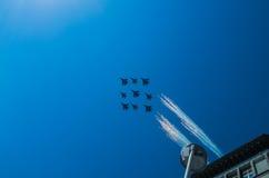Squadriglia di caccia sulla parata a Mosca immagini stock