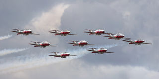 Squadron of air force in the sky during canada day stock image