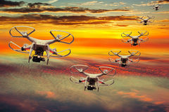 Squadron flying drones royalty free stock images