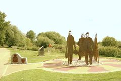 47 Squadron memorial. This memorial depicting members of 47 squadron was unveiled the commemorate the 100th year of the squadron. It is made from metal panels Royalty Free Stock Photography