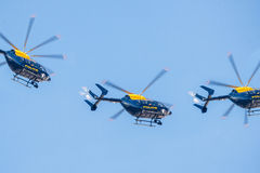 Squadrone dell'elicottero di polizia Immagini Stock Libere da Diritti