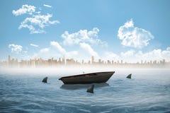 Squali che circondano una piccola barca nel mare illustrazione di stock