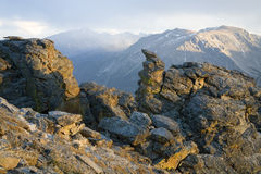 Squalls da neve da montanha rochosa Fotografia de Stock