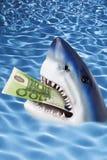 Squalo con la nota dell'euro 100 in bocca fotografia stock libera da diritti