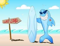 Squalo del surfista con gli occhiali da sole ed il tatuaggio Fotografia Stock