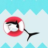 Squalo di nuotata Fondo senza cuciture Illustrazione di Stock