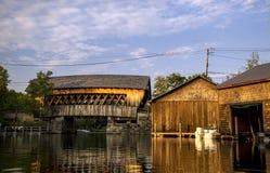 Squam River Bridge (#65), Ashland, New Hampshire. Covered bridge over Squam River in Ashland, New Hampshire stock photo