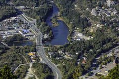 Squamish, bird view. Royalty Free Stock Photos