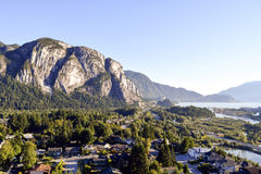 Squamish British Columbia Canada. View of the Stawamus Chief in Squamish, British Columbia, Canada stock photo