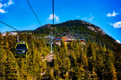 Squamish Sea to Sky. Squamish, BC, Canada - Sept. 22, 2016: The Sea to Sky Gondola ride, the Summit Viewing Deck and Sky Pilot Suspension Bridge are exhilirating royalty free stock photo