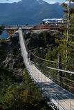 Squamish Sea to Sky. Squamish, BC, Canada - Sept. 22, 2016: The Sea to Sky Gondola ride, the Summit Viewing Deck and Sky Pilot Suspension Bridge are exhilirating royalty free stock photos