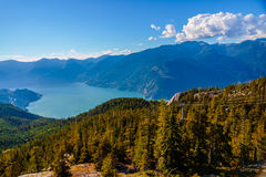Squamish Sea to Sky. Squamish, BC, Canada - Sept. 22, 2016: The Sea to Sky Gondola ride, the Summit Viewing Deck and Sky Pilot Suspension Bridge are exhilirating royalty free stock images