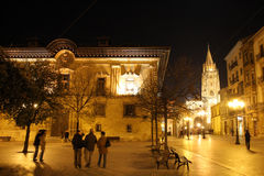 Square. With a cathedral in a background at night stock photo
