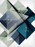Square abstract background with option elements, paper design style glossy effects and shadows Stock Images