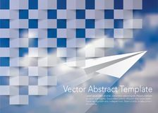 Paper square cloud plane. Square abstract blue texture, 3d vector template with paper plane and clouds in background Stock Image
