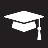 Square academic cap, graduation hat icon, vector illustration. Stock Photo