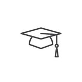 Square academic cap, graduation hat line icon, outline vector sign, linear style pictogram isolated on white. Royalty Free Stock Photo