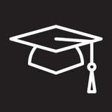 Square academic cap, graduation hat line icon, white outline sign, vector illustration. Stock Photo