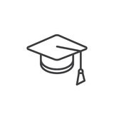 Square academic cap line icon. Outline vector sign, linear style pictogram isolated on white. Mortarboard, Graduation symbol, logo illustration. Editable Royalty Free Stock Photo