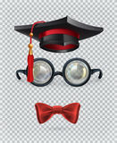 Square academic cap, mortarboard, glasses and bow tie. Vector icon set Royalty Free Stock Photos